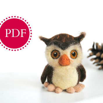 PDF Needle felting tutorial, needle felted owl, wool toy, felted bird, Digital Tutorial, needle felted pattern