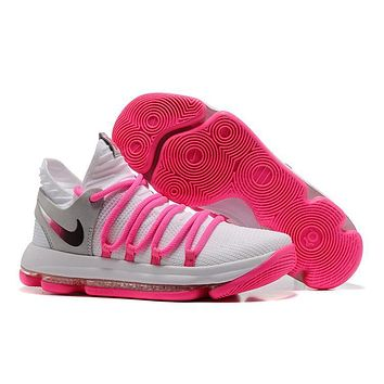 Nike Mens Kevin Durant Kd 10 White/pink Basketball Shoes | Best Deal Online