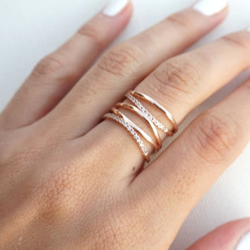 Stacked Crystal Rose Gold Ring, Dainty, Delicate, Free Size Ring, Adjustable rings for women, For Her, Gift for Girlfriend Wife Women
