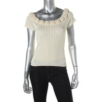 Catherine Malandrino Womens Applique Boatneck Knit Top