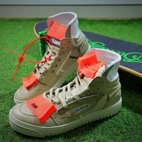 OFF WHITE Low 3.0 Hi Top Sneakers Light Brown Shoes - Best Online Sale