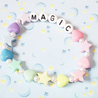 Magic Pastel Stars & Hearts Fairy Kei Kandi Bracelet