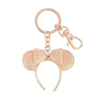 Disney Parks Minnie Mouse Gold Rose Ears Headband Keychain New with Tags
