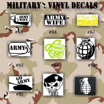 MILITARY vinyl decals - 145-153 - Army, Air Force, Navy and Marines - car decal - window stickers - custom decal - personalized sticker