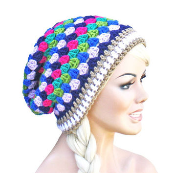 Crochet Slouch Colorful Beanie - Peacock Colors - Granny Stitch Beanie Hat