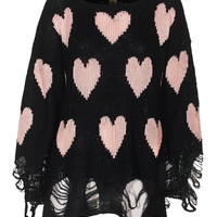WILDFOX  Lennon All Over Love Black Oversize knit sweater - Pullover