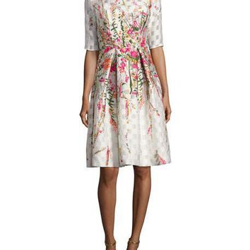 Rose Floral Embroidered Cocktail Dress by Lela Rose