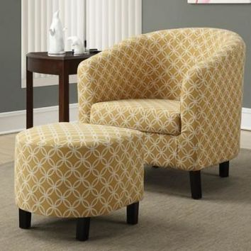 Burnt Yellow Circular Fabric Accent Chair / Ottoman
