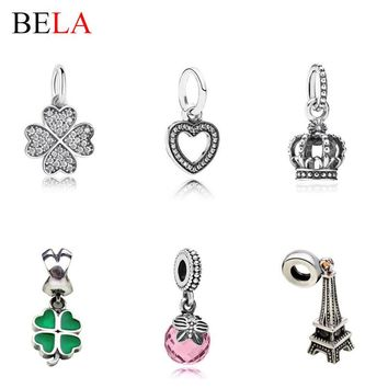 Original 925 Sterling Silver Four Leaf Clover,Heart,Crown,Crystal Dangle Charms Fit Pa