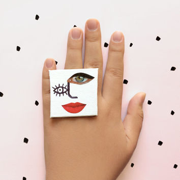 Cocktail Ring, Canvas statement ring, Statement ring, Fashion ring jewelry, Over sized handmade ring, Abstract jewelry, Painted Jewelry
