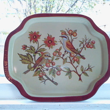 Vintage Bird and Floral Motif Tray with Red Rim, Metal Tray, Decorative Tray, Serving Tray, Small Metal Tray