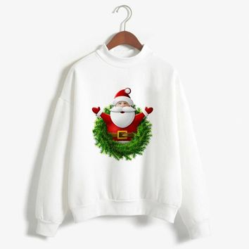 Christmas Patton UGLY Santa Claus Cute Print Pullover Sweater Jumper Outwear Women's Patterns of Reindeer Snowman Christmas