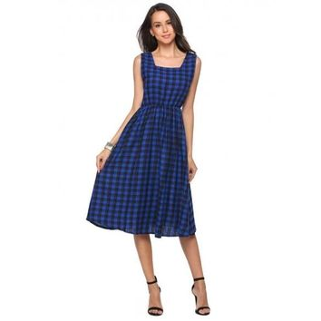 Square Collar Sleeveless Plaid A-Line Dress