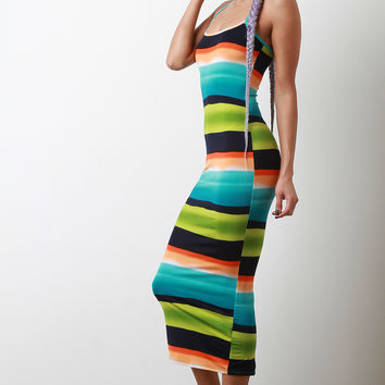 Vibrant Horizontal Striped Midi Dress | UrbanOG