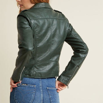 Coming of Edge Vegan Moto Jacket in Hunter Green