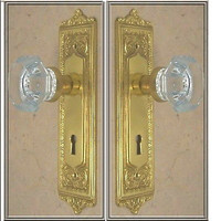 Door Knob Set Tall Plate Egg & Dart 8 inch. Crystal Glass OLD TOWN Door Knob -Custom Made-Guaranteed- In your choice of finish!
