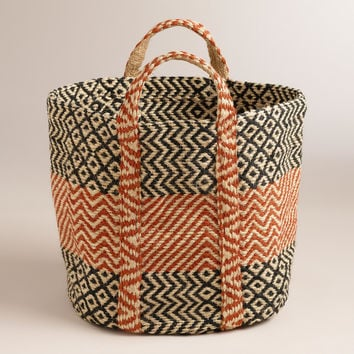 Red with Black Jute Storage Basket - World Market
