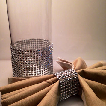 bling napkin rings-100 bling rhinestone napkin rings-Velcro closures-sparkly wedding napkin ring-bling table decor-party napking rings