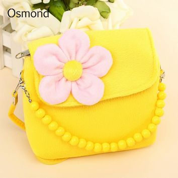 Osmond Bag For Girls Cute 3D Flowers Plush Messenger Bag Children School Bags Crossboy Shoulder Bags Lovely Kids Handbag Purse