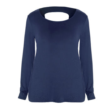 Twist Back Basic Top, Midnight
