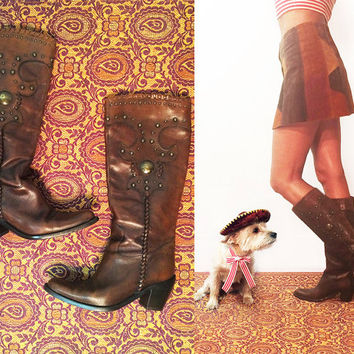 Vintage Cognac Brown Leather Boho Brass Studded Western Knee High Tall Cowboy Boots || Size 7 Size 37