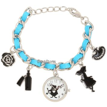 Licensed cool Disney Alice in Wonderland Cheshire Cat Rose Charms Bracelet Watch New In Box
