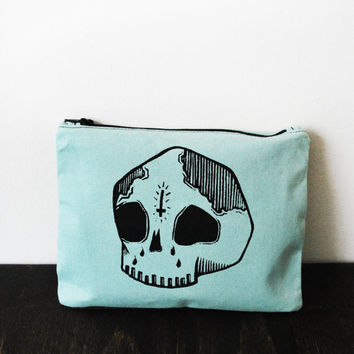 Mint Green Skull Zip Pouch