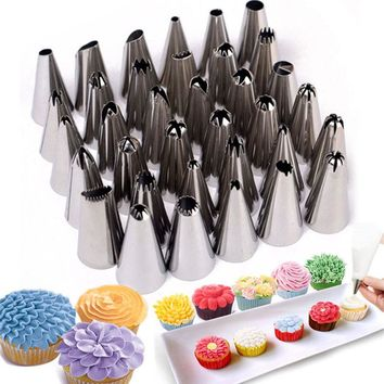 35pcs/Sets Stainless Steel Pastry Tips Icing Piping Nozzles Cupcake Bakery Confectionery Pastry Tools Cake Decorating Tools