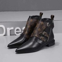 LV Louis Vuitton Woman Genuine Leather Fashion Black Coffee Casual Boots Sneakers Shoes
