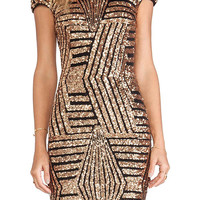 Gold Geometric Sequin Short Sleeve Backless Dress
