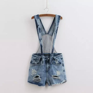 DK255 New Fashion Ladies' Elegant classic blue denim suspender shorts Holes zipper pockets causal Overalls brand designer shorts