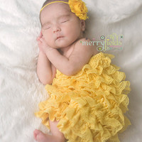 Daisy Yellow Headband - All ages - newborn photography props - vintage couture boutique