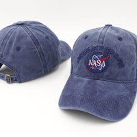 Brand Embroidery Nasa I Need My Space Baseball Cap Hip Hop Women Men Adjustable Denim Blue Dad Hat Bone Gorras Trucket Hat Friend Blue Denim