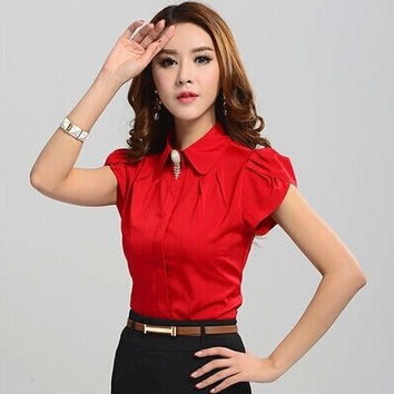 Office Shirt for Women, Butterfly Short Sleeve with collar