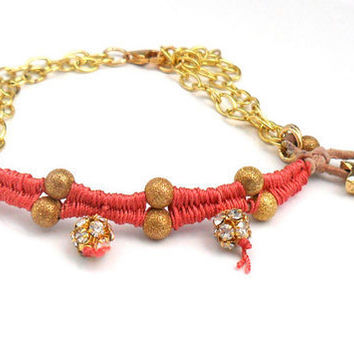 Bracelet gold plated chain leather gold rhinestone by Daniblu