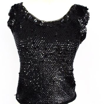 Vintage Sweater Shell Black Sequins Baby Doll Style  1950S Med-Large