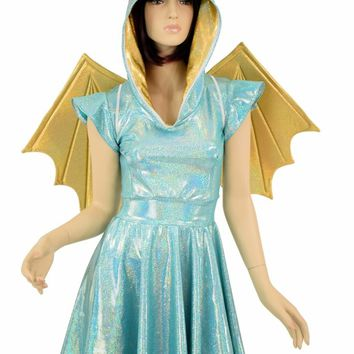 Dragon Hoodie Skater Dress with Wireless Wings