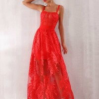 Francisca Red Lace Corset Maxi Dress