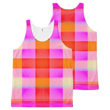 Pink Flamingo Plaid All-Over-Print Tank Top