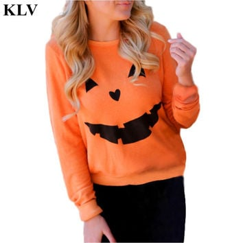 New Women Halloween Pumpkin Print Long Sleeve Sweatshirt Women Pullover Tops Blouse Se14