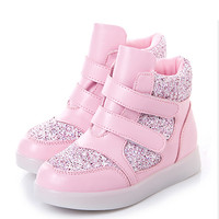 2016 Children Shoes With LED Light Bright Child Shoes Girls &Boys Enfant HighTop Usb Charge Spring Casual Shoes For Kids 3 Color
