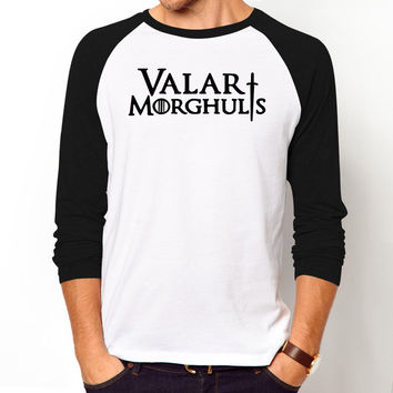 Hip Hop Men Tee Shirt THE Game of Thrones Valar Morghulis T Shirts Casual long sleeves clothing high quality cotton T-shirt