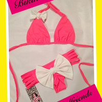 Bow Bikini Set in Bright Coral with White Bows with Strappy Bottoms and Scrunch Butt Bottom by Girlfriends Bikinis