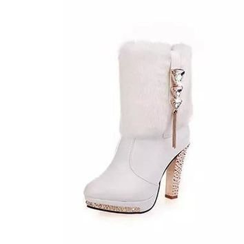 YJSFG HOUSE - Bling Crystalized Furry Party High-heeled Statement Boots*