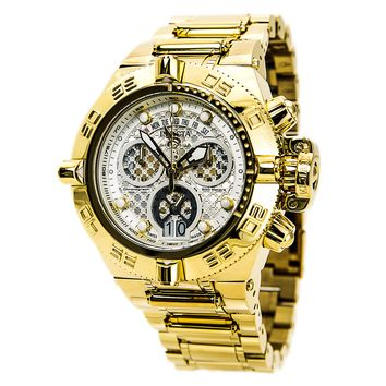 Invicta 14499 Men's Subaqua Noma IV Silver Dial Gold Plated Steel Bracelet Chronograph Dive Watch
