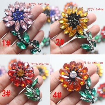 5Pcs 4kinds Rhinestone Flower Beaded Patch for Clothing Sewing on Patch,Beading Applique Clothes Decoration Patch A013
