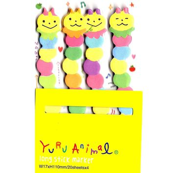 Long Caterpillar Bug Shaped Animal Themed Memo Post-it Sticker Marker Pad