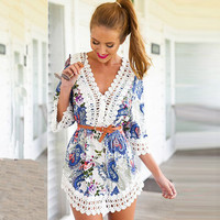 Paisley Print V-Neck Half Sleeve Lace Mini Dress