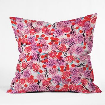 Joy Laforme Floral Forest Red Throw Pillow