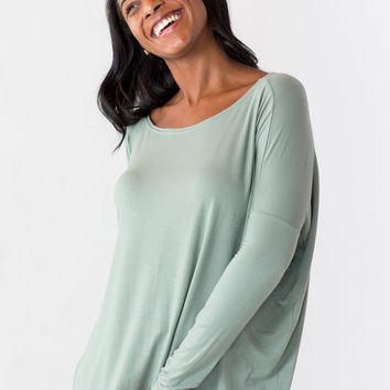 The Willow Piko Top in Green